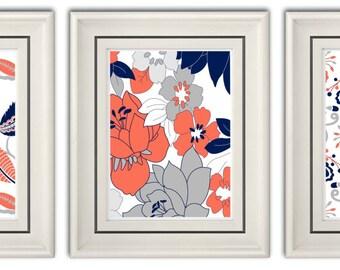 Set of Three Modern/Vintage Coral/Navy Art Print - 8x11  Print Set- Home Decor (Unframed)