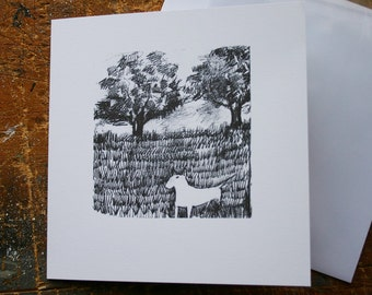 """Bull Terrier Blank Greeting Card """"In the Field or the Lost Ball"""""""
