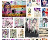 Collage of 29 paintings Poster sized 11 x 17 with original mixed media paintings