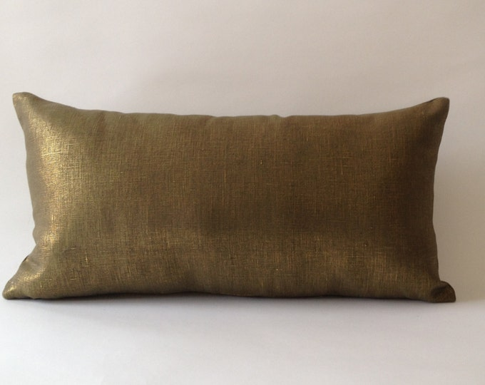 Metallic Bronze Linen Decorative Lumbar Pillow Cover - Medium Weight Linen- Invisible Zipper Closure