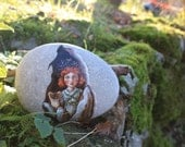 Free Shipping Painted stone. Ready to ship. Little fairy with ferret , sprite of the forest painted pebble. Beach pebbles art
