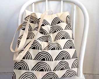Rows of Rainbows Block-Printed Cotton Tote Bag