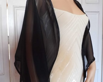 Black chiffon kimono/jacket/wrap/cover-up/bolero with satin edging