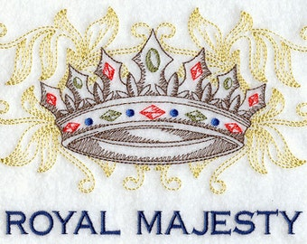 Royal Majesty Crown Embroidered Flour Sack Hand/Dish Towel