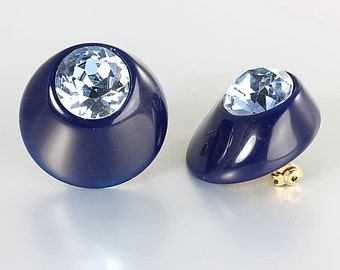 Aquamarine Rhinestone Brooch set, Aqua Blue Navy Art Deco Scatter Pins, Rhinestone Lucite Brooch Vintage jewelry