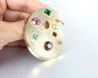 Pastel rhinestone Brooch, Modernist Paisley Brooch , Multicolor Pink Green Purple Blue Vintage jewelry
