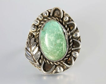 Navajo Green Turquoise Ring, Sterling silver Ring, Native American, southwestern