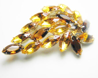 SALE Vintage Rootbeer Yellow Amber Rhinestone Leaf Flower Brooch