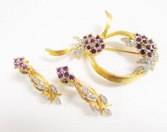 Vintage D'OrLan Amethyst Rhinestone Brooch Earrings Boucher Designer