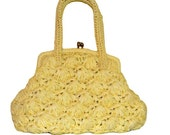 1960s Lemon Yellow Raffia Straw Purse