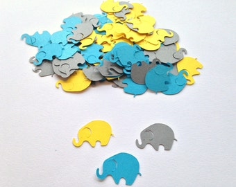 100 Yellow Gray Aqua Elephant Confetti Die Cut Cutout Punch Embellishment Scrapbook