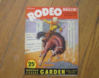 Vintage Rodeo Magazine 1946 21st Annual Rodeo at Madison Square Garden World Championship Cowboy Cowgirl Roy Rogers 1940s