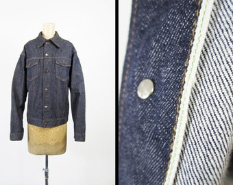 Vintage 70s Selvedge Denim Jacket Sears Roebuck Dark Wash Trucker Jacket - Large