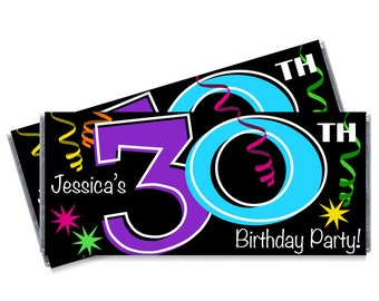 Set of 12 - 30th Birthday Candy Bar Wrappers - Adult Milestone Favors - 20th, 30th, 40th, 50th, 60th, 70th Birthday Candy Bar Wrappers