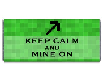 Set of 12 - Keep Calm and Mine On Personalized Candy Bar Wrappers - Mine On Birthday Party Favors