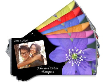 Set of 12 - Wedding Candy Bar Wrappers - Personalized Photo Flower Wedding Favors