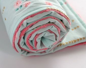 Floral Baby Blanket, Minky Baby Blanket, Coral Minky Blanket, Baby Girl Bedding, Brambleberry Ridge Rosemilk Mint Metallic, Coral Gold Teal