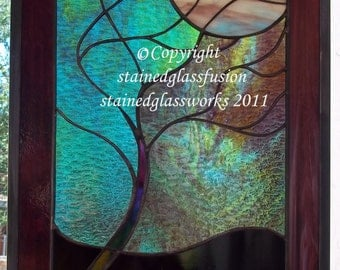 Stained Glass moonlit tree window panel turquoise glass beveled turquoise green teal plum
