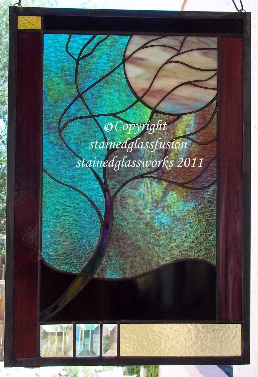 Stained glass moonlit tree window panel turquoise glass for Decorative stained glass windows