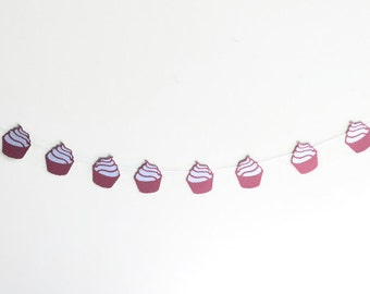 Polka Dotted Cupcakes, Red and White Banner, Cupcake Bunting, Birthday Streamer, Girls Birthday Party, Cup Cake Bunting, Sweet Bar Decor
