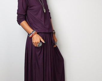 Dark Purple Maxi Dress -  Long Sleeve dress : Autumn Thrills Collection No.1s  (Best Seller)