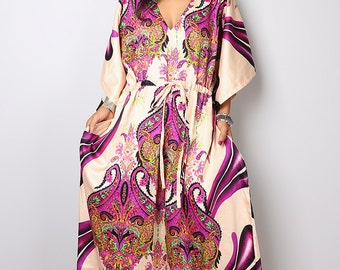 Boho Maxi Dress / Caftan Long Summer Gown with Flower Print : Bohemian Kaftan Collection No.1