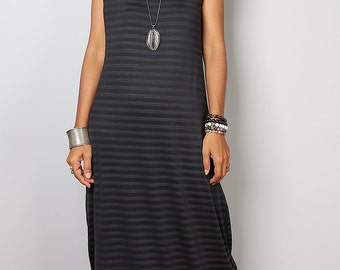Maxi Dress -  Trendy Grey Striped dress : Urban Chic Collection No.17  (Best Seller)