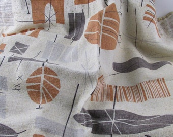 Vintage Retro Fabric Abstract Print Mid Century Barkcloth, Vintage Fabric, Vintage Textiles, Vintage Material