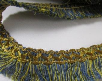 Vintage  Soft Cotton / RayonBlue and Gold Thread Fringe Trim, Vintage Sewing Supplies, Vintage Fringe, Vintage Edging