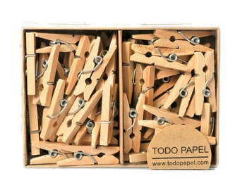 REDY TO SHIP | Natural wooden clothespins. Bare wood mini pins. Small wooden pegs. Petite size clips. Tiny clothespins in natural color