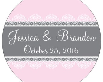 80 - 2 inch Glossy Waterproof Wedding Stickers Labels - many designs to choose from - change designs to any color or wording WR-064