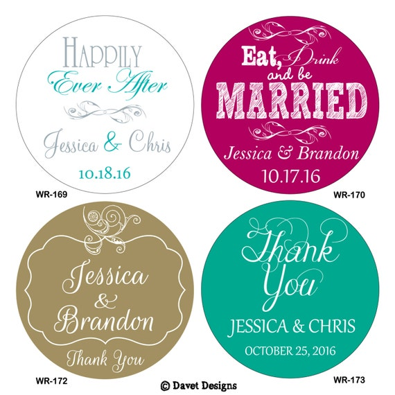 192 - 1.6 inch Custom Glossy Waterproof Wedding Stickers Labels - many designs to choose - change designs to any color, wording etc