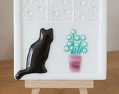 Fused Glass Picture on Wooden Easel - Black Cat on a Window