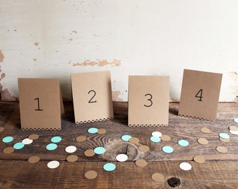 brown tented table number cards for wedding, shower, party set of 10 - tallulah
