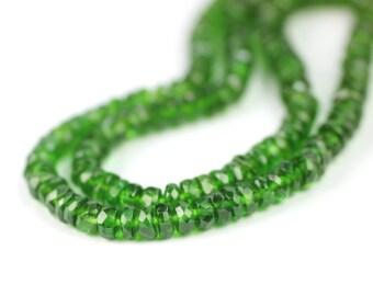 Chrome Diopside Micro Faceted Rondelles 10 True Green Translucent Semi Precious Gemstones