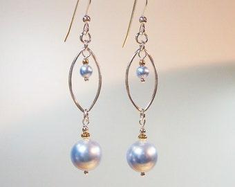 Light Blue Pearl Earrings