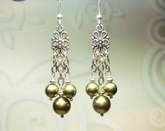 Green Swarovski Pearl Earrings