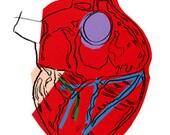 Pop Art Red Blue Anatomical Heart Love - Digital Image - Vintage Art Illustration - Instant Download