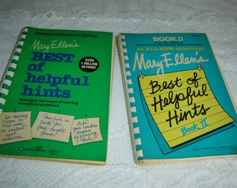 Mary Ellen's Best of Helpful Hints Books 1&2, spiral paperbacks, helpful hints, home reference guides, instructional books, vintage 1979/81