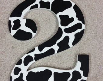 Cow Print - Photo Prop - Hand Painted - Wooden - Any Birthday Number