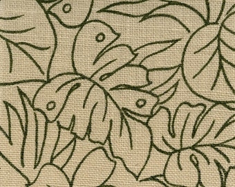 Natural Sultana Leaf Print - BURLAP Jute Fabric - 60 inches wide  from James Thompson