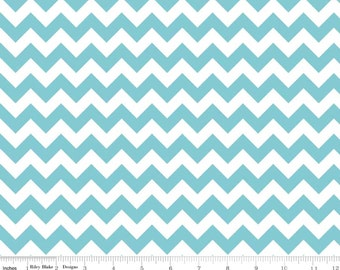 Cotton Chevron - Small Chevron Aqua from Riley Blake