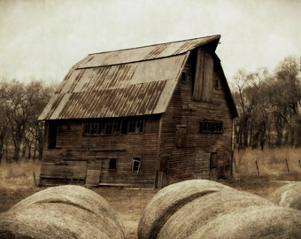 Windows with Hay Bales / Barn Art / Rural photography / Home Decor / Rustic Art / Farmhouse decore / Barnwood / Barn Salvage