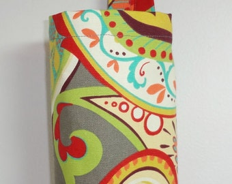 Plastic Bag Holder Grocery Bag Storage Kitchen Bag Storage Whimsy Paisley Mardi Gras Color