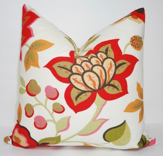 Pink Floral Decorative Pillows : Items similar to Decorative Pillow Cover Red Pink Floral Print Pillow Cover Decorative Pillow ...