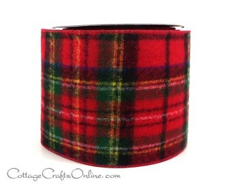 "Christmas Wired Ribbon 4"" Red and Green Flannel Style Tartan Plaid - TEN YARD ROLL - d stevens ""Scottish Plaid"",  Craft Wire Edged Ribbon"