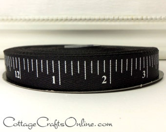 "Twill Ribbon, 5/8"" wide, Black White Measuring Tape Print - TWENTY FIVE YARD RoLL - d. stevens, ""Chalkboard Tape"" Twill Tape Measure Ribbon"
