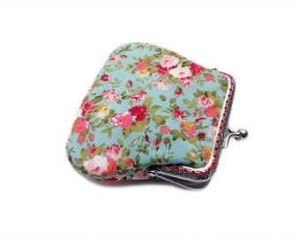 Fabric Coin Purse - Framed Clutch Purse - Silver Frame - Medium size - Mint Green with Red Flowers