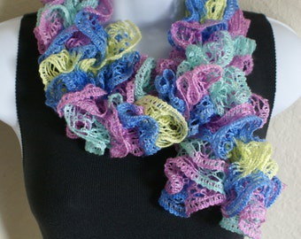 Easter Ruffle scarf hand knit blue green yellow pink colors with shiny silver +60 inches long