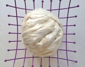 2 or 4 oz Tussah Silk Bleached, Silk Top, Silk Roving, Nuno Felting Fiber, Wet Felting, Tussah Silk, Bleached Tussah Silk Tussah Silk Top